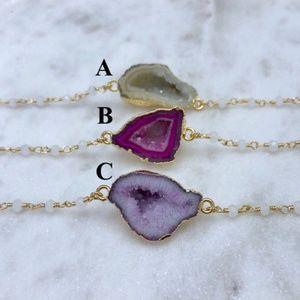 Jewelry - Chalcedony Gold Chain Petite Druzy Geode Necklace